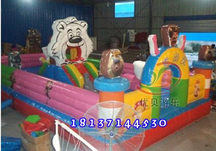 供应二手充气儿童气床蹦蹦床大型乐园价格优质熊出没